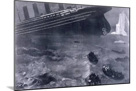 Lifeboats in the Freezing Choppy Waters Frantically Row Away from the Doomed Wreck of the Titanic--Mounted Giclee Print
