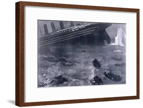Lifeboats in the Freezing Choppy Waters Frantically Row Away from the Doomed Wreck of the Titanic--Framed Art Print