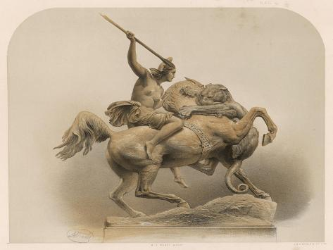 The Amazon, a Sculpture by Kiss Berlin of an Amazon Woman Spearing a Li--Stretched Canvas Print