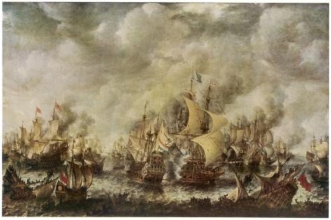 Sea Fight Between the English and the Dutch off the Coast of Ter Heyde--Stretched Canvas Print