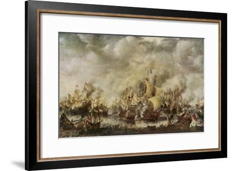 Sea Fight Between the English and the Dutch off the Coast of Ter Heyde--Framed Art Print
