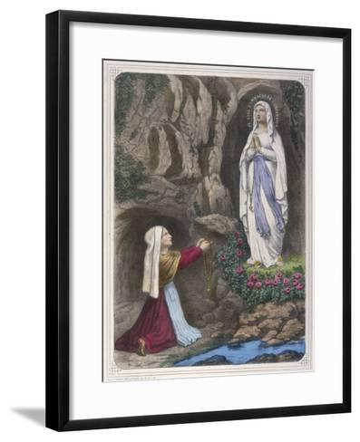The Virgin Mary Reveals to Bernadette Soubirous That She is the Immaculate Conception--Framed Art Print