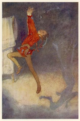 Peter Pan Dances with His Shadow-Alice B^ Woodward-Stretched Canvas Print
