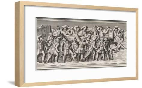 Roman Soldiers Attack a German Town, Casualties on Both Sides--Framed Art Print