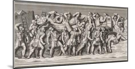Roman Soldiers Attack a German Town, Casualties on Both Sides--Mounted Giclee Print