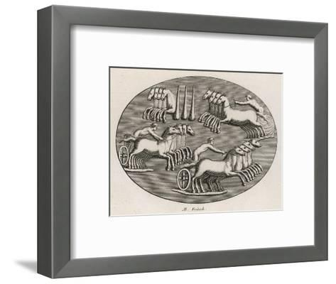 Four Four-Horse Chariots Racing in an Arena--Framed Art Print