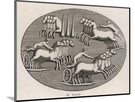Four Four-Horse Chariots Racing in an Arena--Mounted Giclee Print