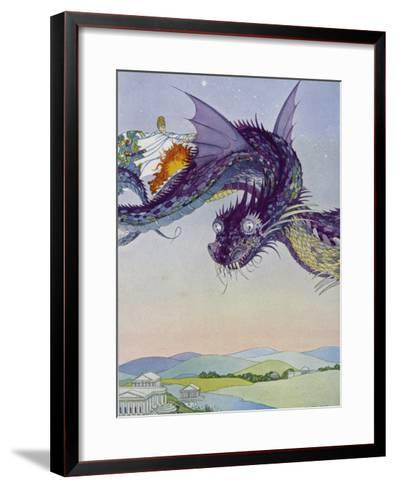 The Sorceress Medea Flies Through the Greek Airspace in Her Serpent-Powered Chariot-Virginia Frances Sterrett-Framed Art Print