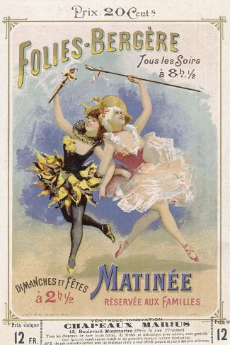 Programmes a Programme Cover for the Famous Folies Bergere Cabaret in Paris--Stretched Canvas Print