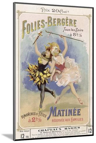 Programmes a Programme Cover for the Famous Folies Bergere Cabaret in Paris--Mounted Giclee Print