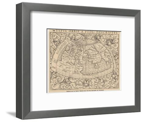 1545 Map from Basel Switzerland Depicting the World as Known to Ptolemy in the 2nd Century--Framed Art Print