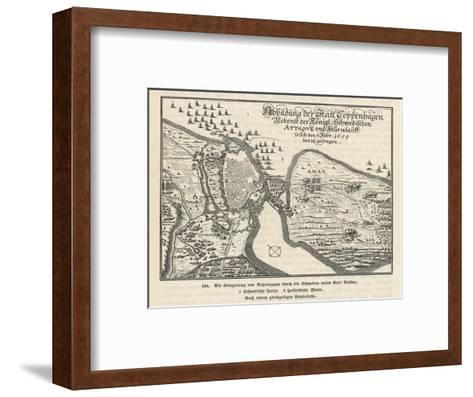 Map of the Siege of Copenhagen Denmark by Carl X Gustav of Sweden--Framed Art Print