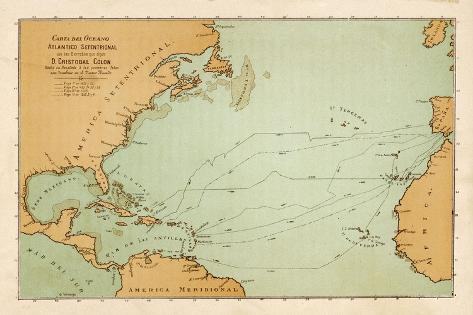 Map Showing the Travels of Columbus off the American Mainland--Stretched Canvas Print