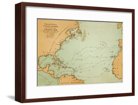 Map Showing the Travels of Columbus off the American Mainland--Framed Art Print