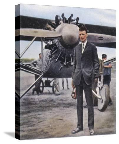 Charles Augustus Lindbergh with the Spirit of St. Louis--Stretched Canvas Print