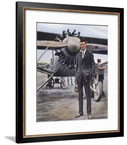 Charles Augustus Lindbergh with the Spirit of St. Louis--Framed Art Print