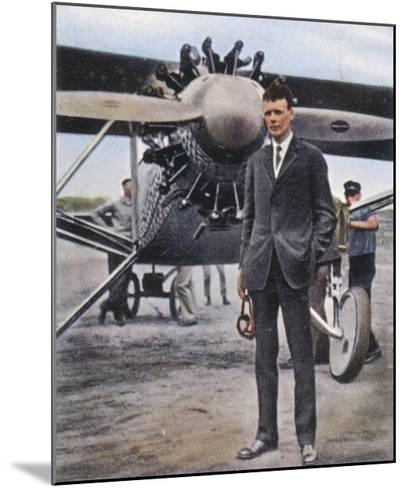 Charles Augustus Lindbergh with the Spirit of St. Louis--Mounted Giclee Print