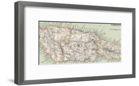 Map of Jamaica--Framed Art Print