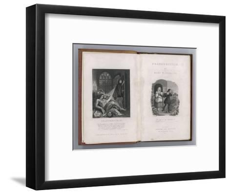 Frankenstein Frontispiece and Title Page to Mary Shelley's Novel--Framed Art Print