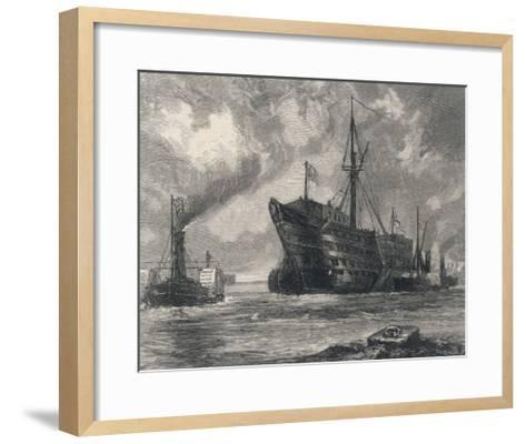 The Old Sailing Ship Towed to Her Last Berth--Framed Art Print
