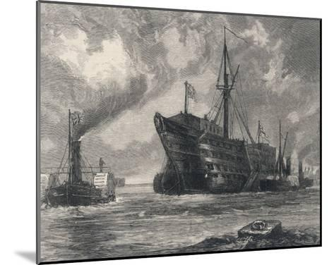 The Old Sailing Ship Towed to Her Last Berth--Mounted Giclee Print