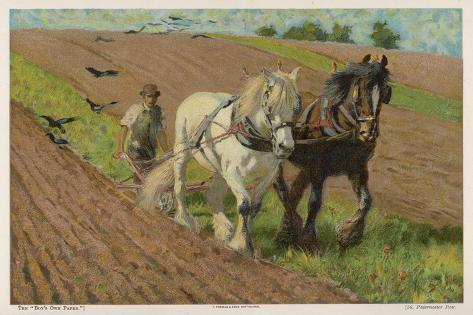 Ploughing with a Pair of Horses-H. Wheelwright-Stretched Canvas Print