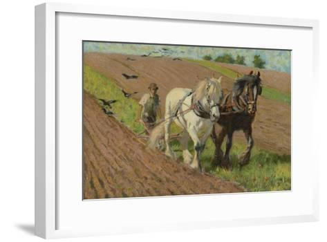Ploughing with a Pair of Horses-H. Wheelwright-Framed Art Print