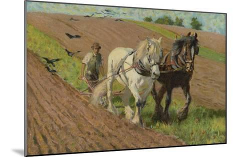 Ploughing with a Pair of Horses-H. Wheelwright-Mounted Giclee Print