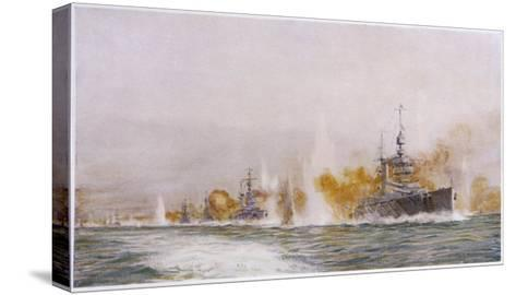 """Hms """"Lion"""" Leads the Battle- Cruisers into the Fray at the Battle of Jutland-William Lionel Wyllie-Stretched Canvas Print"""