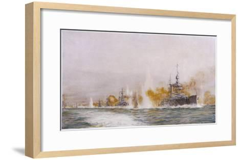 """Hms """"Lion"""" Leads the Battle- Cruisers into the Fray at the Battle of Jutland-William Lionel Wyllie-Framed Art Print"""