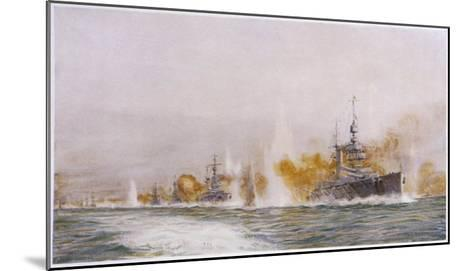 """Hms """"Lion"""" Leads the Battle- Cruisers into the Fray at the Battle of Jutland-William Lionel Wyllie-Mounted Giclee Print"""