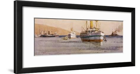 Hospital Carrier Ships Transporting Wounded from the Mainland to Rest Camps-Norman Wilkinson-Framed Art Print