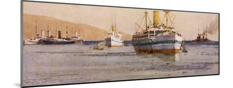 Hospital Carrier Ships Transporting Wounded from the Mainland to Rest Camps-Norman Wilkinson-Mounted Giclee Print