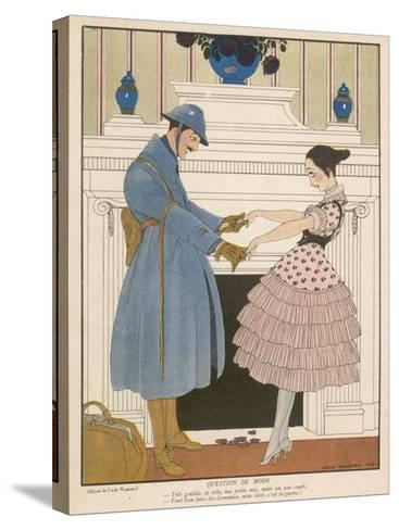 French Soldier Returns Home from the Front and Receives a Warm Welcome from His Loved One-Gerda Wegener-Stretched Canvas Print