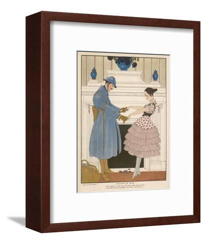 French Soldier Returns Home from the Front and Receives a Warm Welcome from His Loved One-Gerda Wegener-Framed Art Print