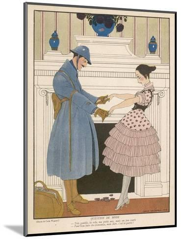 French Soldier Returns Home from the Front and Receives a Warm Welcome from His Loved One-Gerda Wegener-Mounted Giclee Print