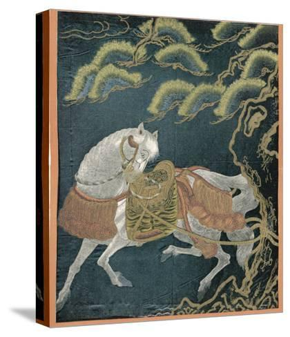 """Horse Tied to a Tree, an Embroidered """"Fukusa"""" a Kind of Mixed Media Production--Stretched Canvas Print"""