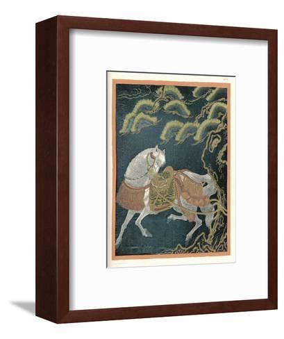 """Horse Tied to a Tree, an Embroidered """"Fukusa"""" a Kind of Mixed Media Production--Framed Art Print"""