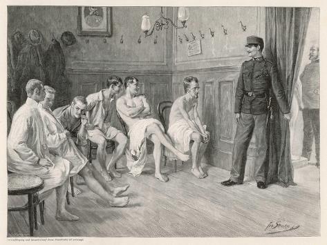Recruits Await Their Medical Examination-Joseph Straka-Stretched Canvas Print
