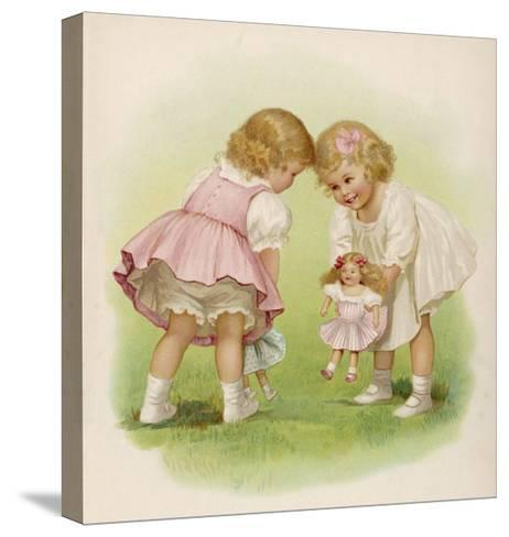Two Very Small Girls Introduce Their Dolls to Each Other-Ida Waugh-Stretched Canvas Print