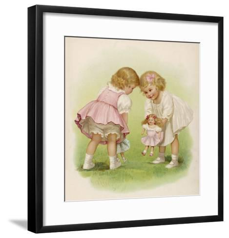 Two Very Small Girls Introduce Their Dolls to Each Other-Ida Waugh-Framed Art Print