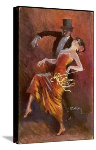 Two Handsome Dancers Strut Their Thing in Fine Style Giving the Cake-Walk Almost a Sinister Look-L. Usobol-Stretched Canvas Print