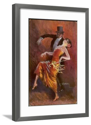 Two Handsome Dancers Strut Their Thing in Fine Style Giving the Cake-Walk Almost a Sinister Look-L. Usobol-Framed Art Print