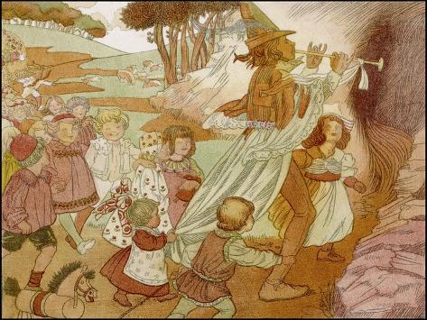 The Children of Hamelin Follow the Pied Piper and are Not Seen Again-Olive Wood-Stretched Canvas Print