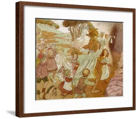 The Children of Hamelin Follow the Pied Piper and are Not Seen Again-Olive Wood-Framed Art Print