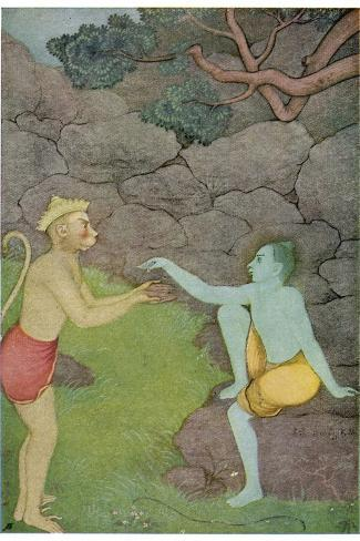 Rama Put His Trust in the Ape Hanuman (Son of the Wind God) to Find His Abducted Wife Sita-K. Venkatappa-Stretched Canvas Print