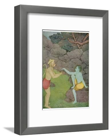 Rama Put His Trust in the Ape Hanuman (Son of the Wind God) to Find His Abducted Wife Sita-K. Venkatappa-Framed Art Print