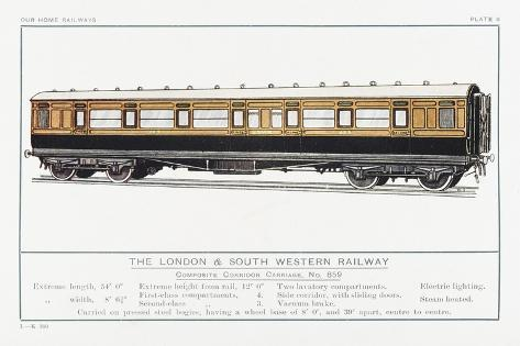 London and South Western Railway Corridor Carriage-W.j. Stokoe-Stretched Canvas Print