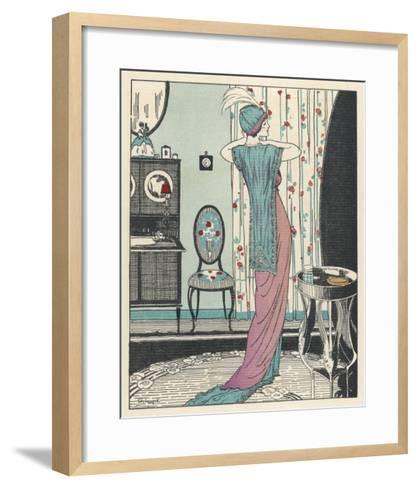 Back View of a High Waisted Draped Gown with Train by Zimmerman-Louis Strimpl-Framed Art Print