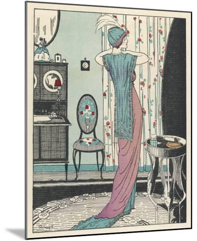 Back View of a High Waisted Draped Gown with Train by Zimmerman-Louis Strimpl-Mounted Giclee Print